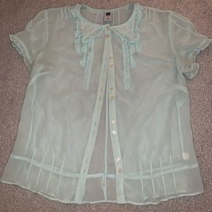 Gap Sheer Turquoise Button Up Top